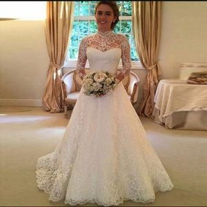 Women Wedding Dress Bridal Formal Gown Lace Long S